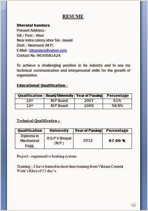 Fresher Resume format for 12th Pass Resume format 10th Pass format Resume Resumeformat