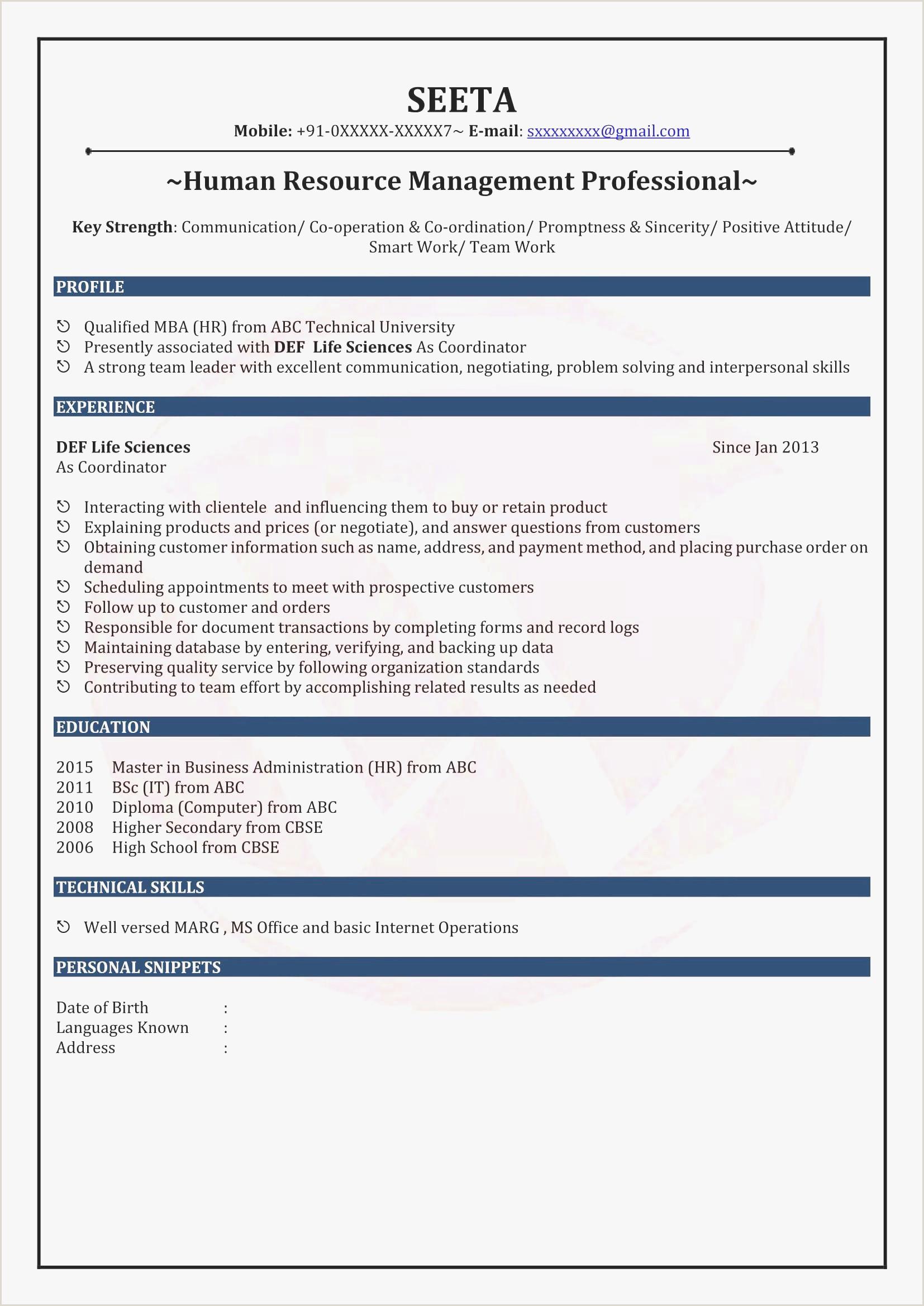 Fresher Resume format for 12th Pass Sample Resume format for Mba Hr Freshers New Sample Resume