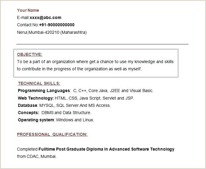 Fresher Resume format for Accountant Resume Template without Objective Fresher Sample Career