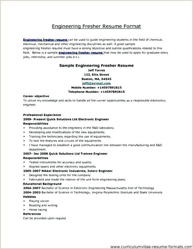 Fresher Resume Format For B.tech Civil Good Resume Templates For Freshers – Hayatussahabah