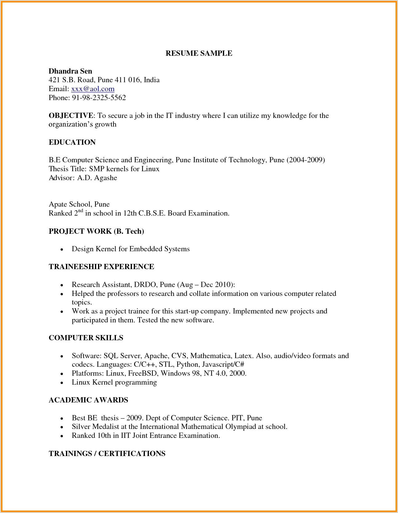 Fresher Resume Format For B.tech Cse Beautiful Fresher Resume For Mechanical Engineer