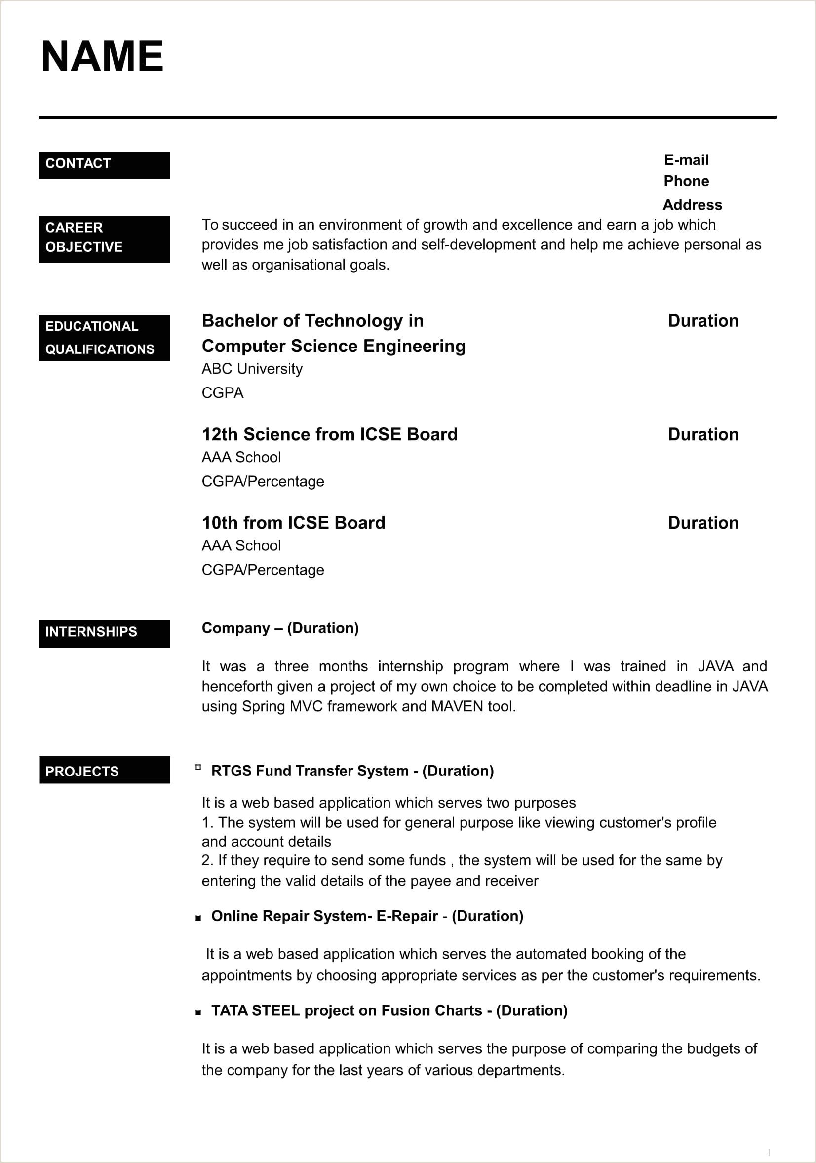 Fresher Resume Format For B.tech Cse Pin By Jobresume Resume Career Termplate Free Pinterest