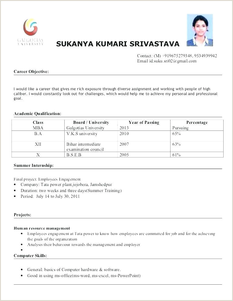 Fresher Resume format for B.tech Cse Sample Resume for Freshers Pdf – Englishor
