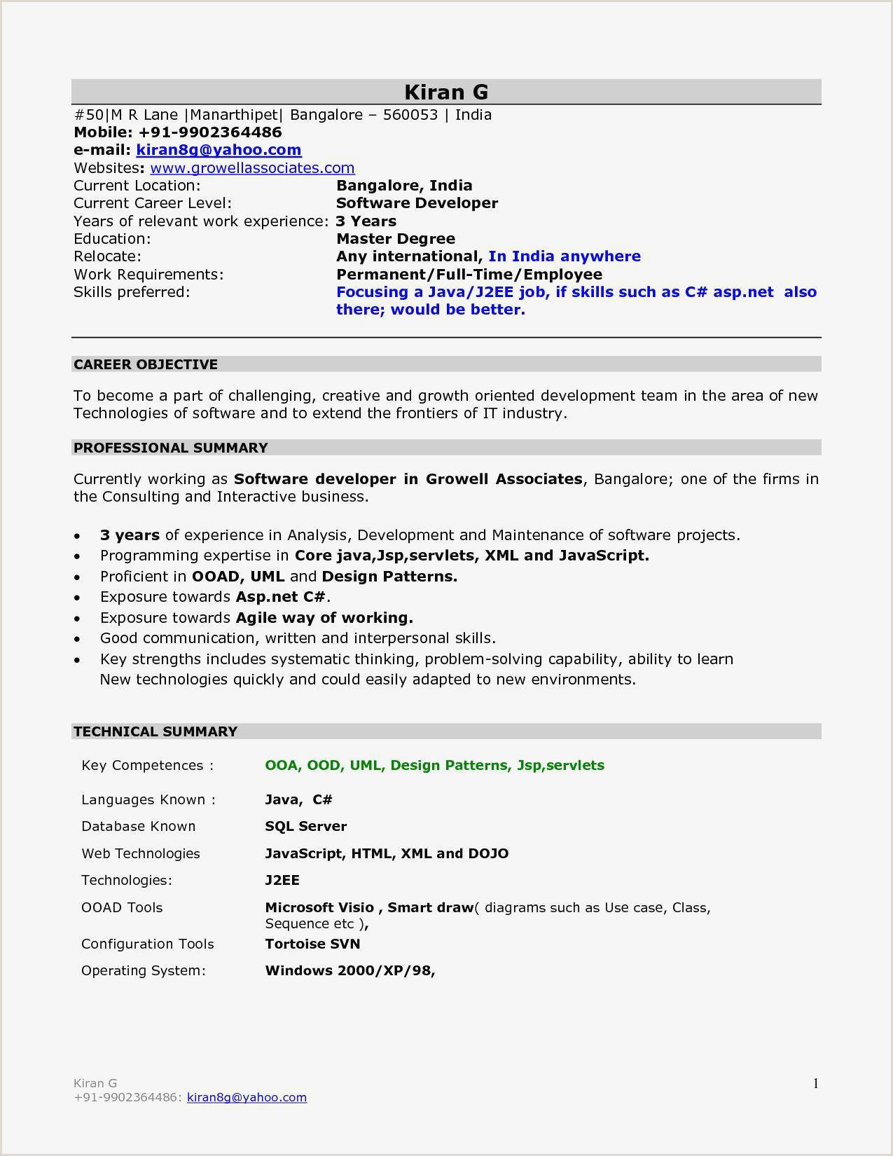 Fresher Resume Format For B.tech Ece Free Download Cv Vierge Meilleur De Resume Format For Freshers Mechanical