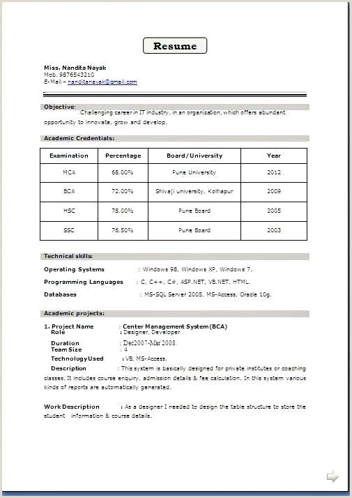 Fresher Resume Format For B.tech Ece Free Download Good Resume Samples Sample Personal Profile Es For
