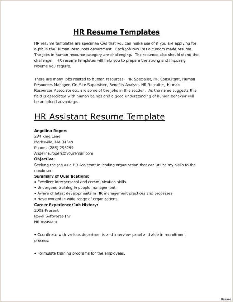 Fresher Resume format for Back Office Best Executive Resume format Templates for Hr Fresher