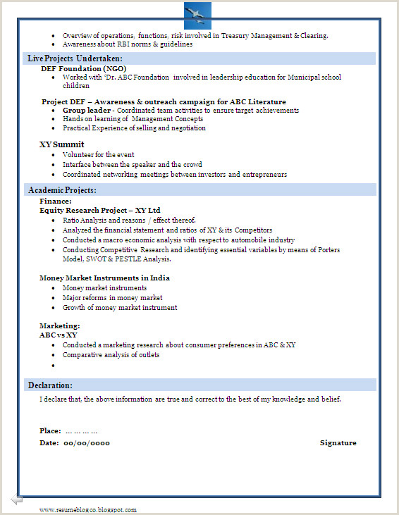 Fresher Resume Format For Bank Job B A And B Freshers Resume Samples Making A B A Or A B