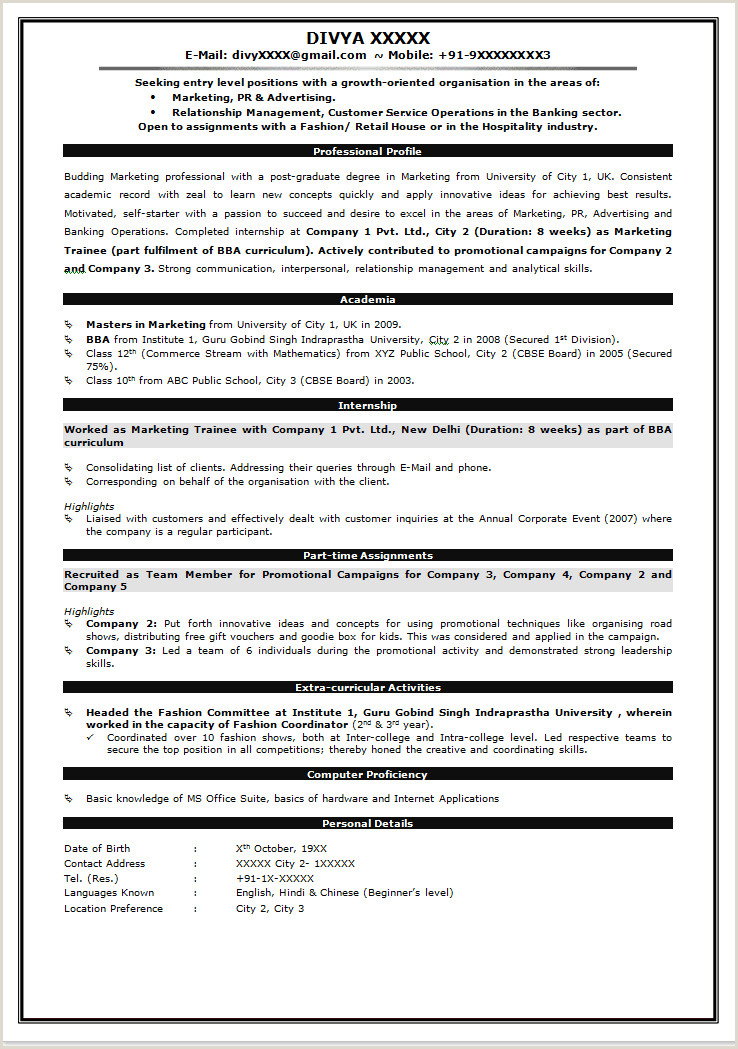 Fresher Resume format for Banking M Tech Resume format Resume Templates
