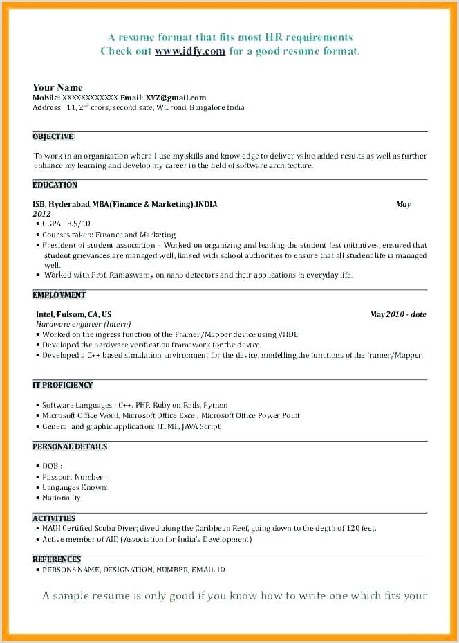 Fresher Resume format for Banking Sample Resume format for Mba Finance Freshers