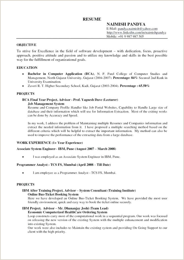 Fresher Resume Format For Bca College Resume Format – Paknts