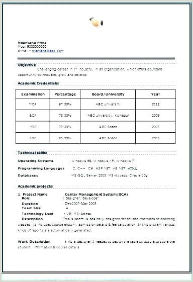 Fresher Resume format for Bca New format Of Resume – Emelcotest