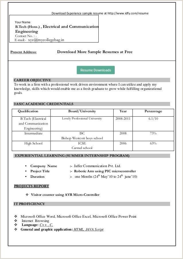 Fresher Resume format for Bca Pin On B I S E Kohat Kpk