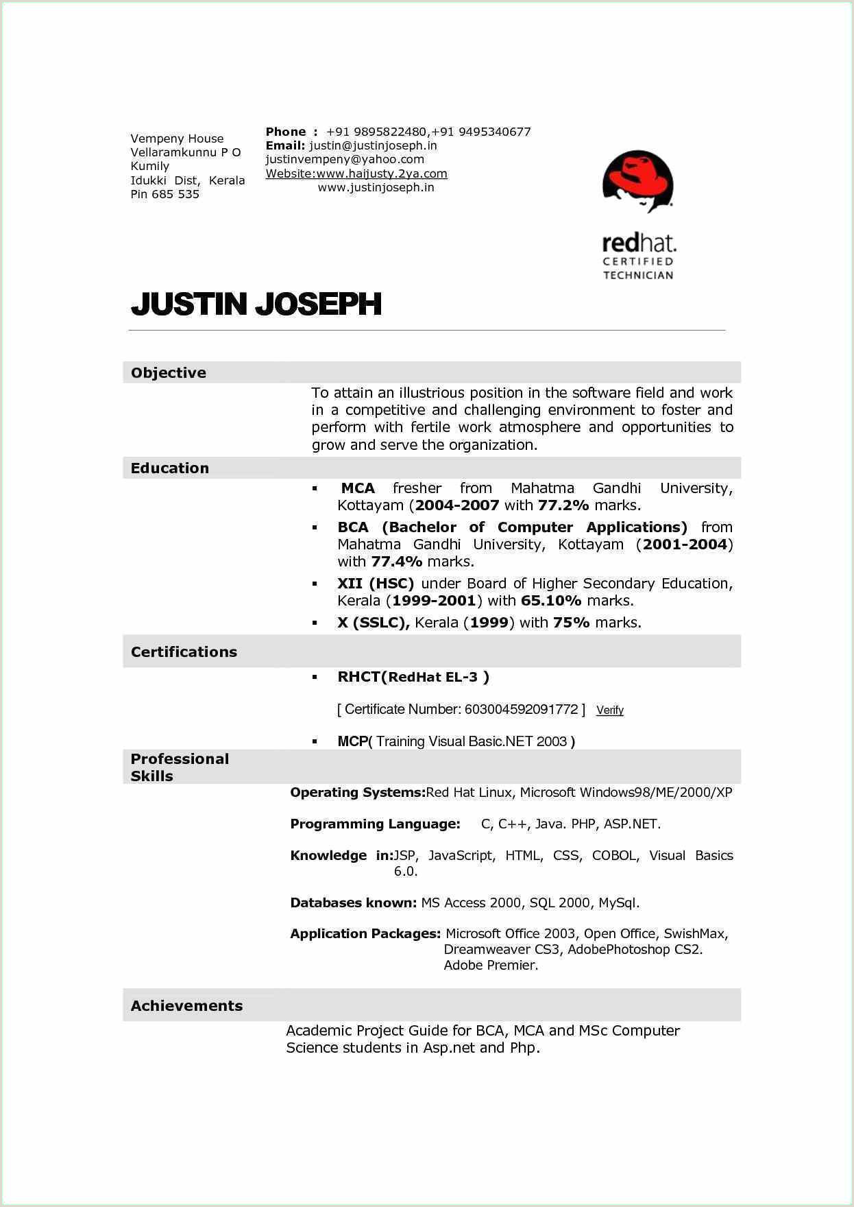 Fresher Resume Format For Bca Resume Format For Experienced Sales Professional