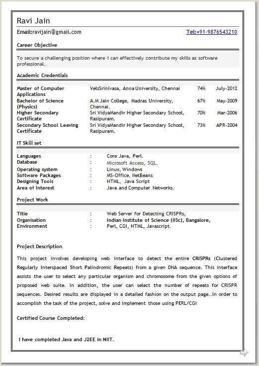 Fresher Resume format for Bcom Best Cv Templates Free Sample Template Example Of Mca Fresher
