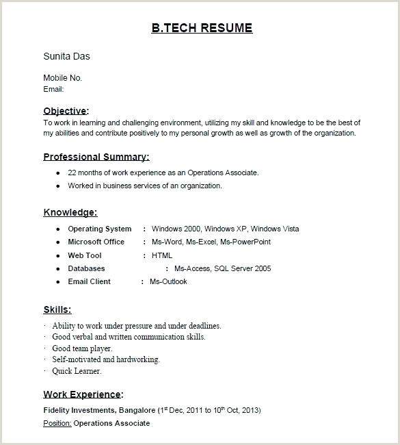 Fresher Resume format for Bcom Free Sample Resumes for Freshers – Growthnotes