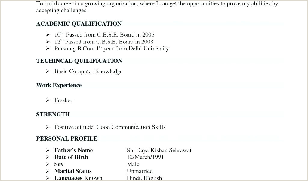 Fresher Resume format for Bcom Simple Resume format for Freshers