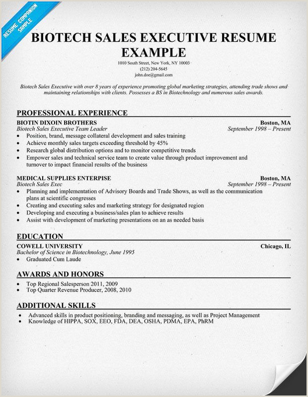 Fresher Resume format for Biotechnology Biotech Sales Executive Resume Sample Resume Panion