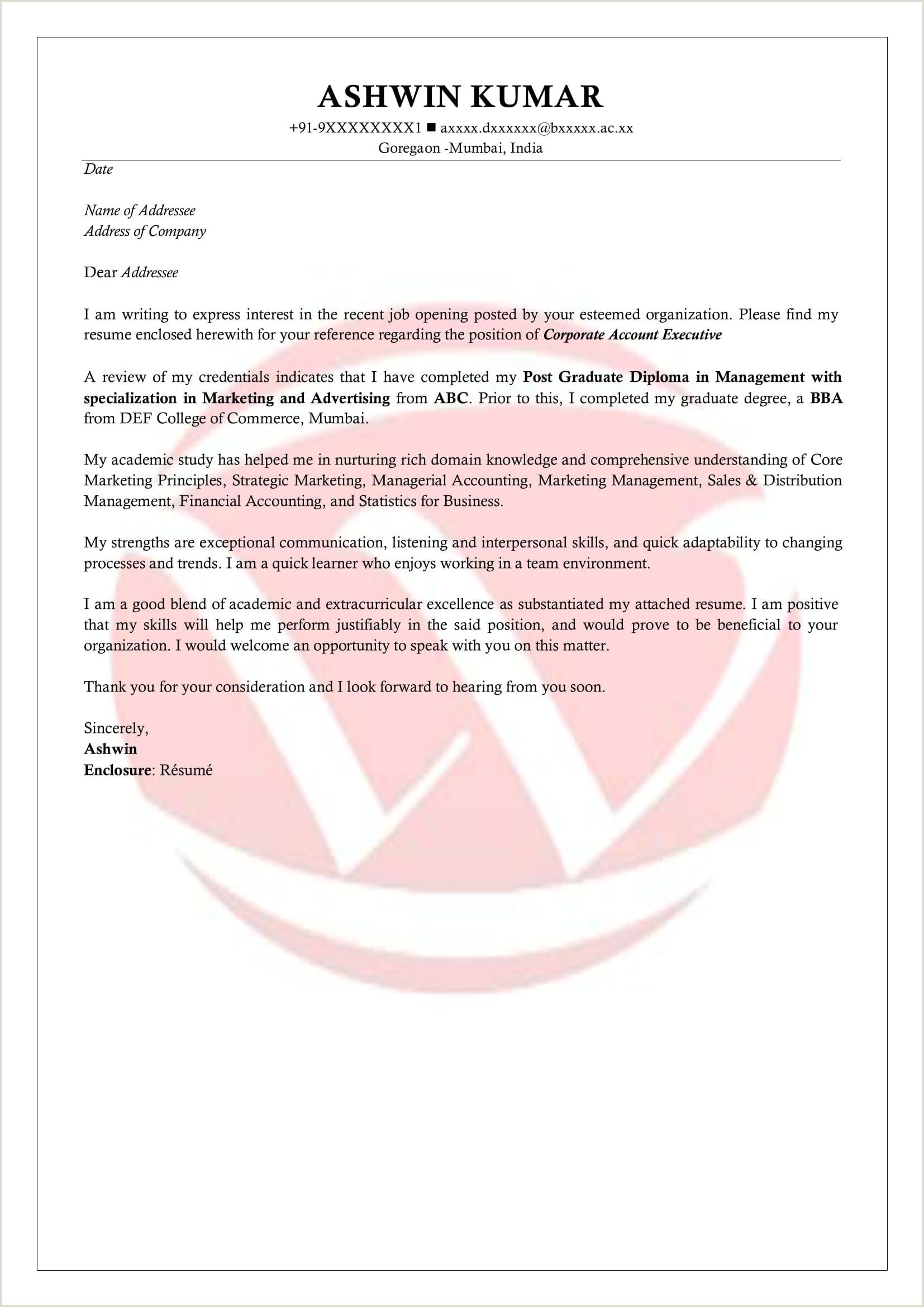Fresher Resume Format For Biotechnology Freshers Sample Cover Letter Format Download Cover Letter