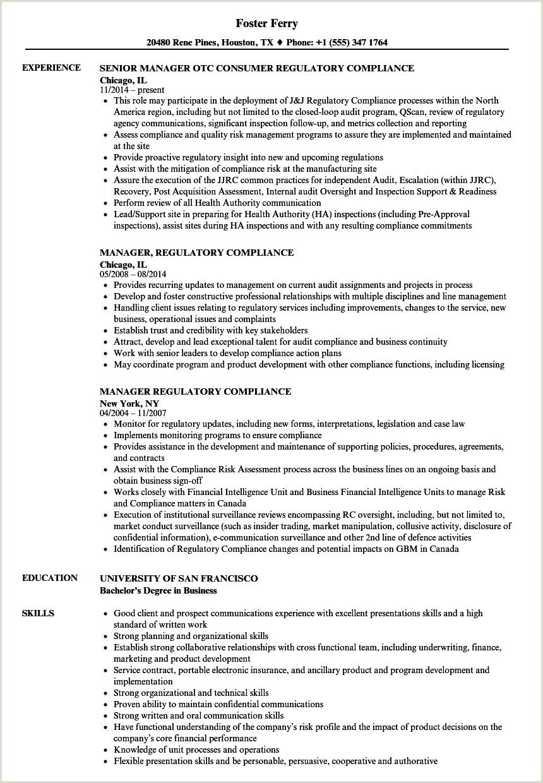 Fresher Resume Format For Biotechnology Manager Regulatory Pliance Resume Samples