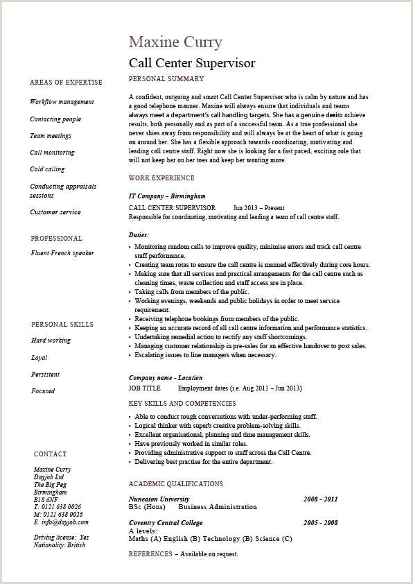 Fresher Resume format for Bpo Jobs Call Center Manager Resume Job Description Example Sample
