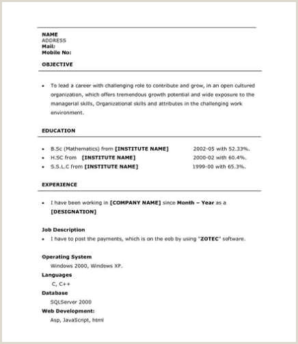 Fresher Resume format for Bsc Maths Archaeologia Cornu Britannica An Essay to Preserve