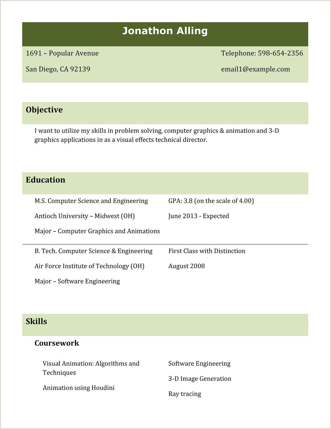 Fresher Resume format for Bsc Maths Best Cv Templates Free Sample Template Example Of Mca Fresher