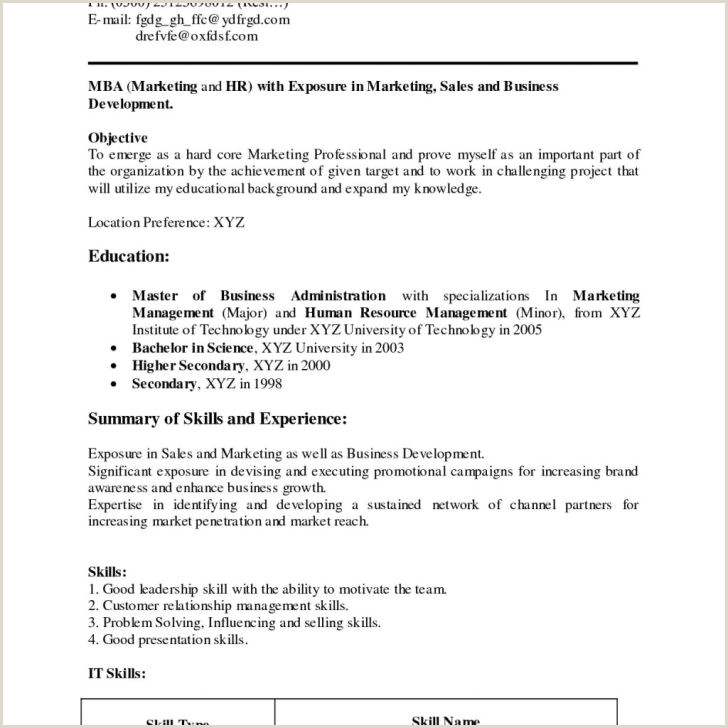 Fresher Resume Format For Business Development Simple Resume Format For Fresher Filename Sample New And