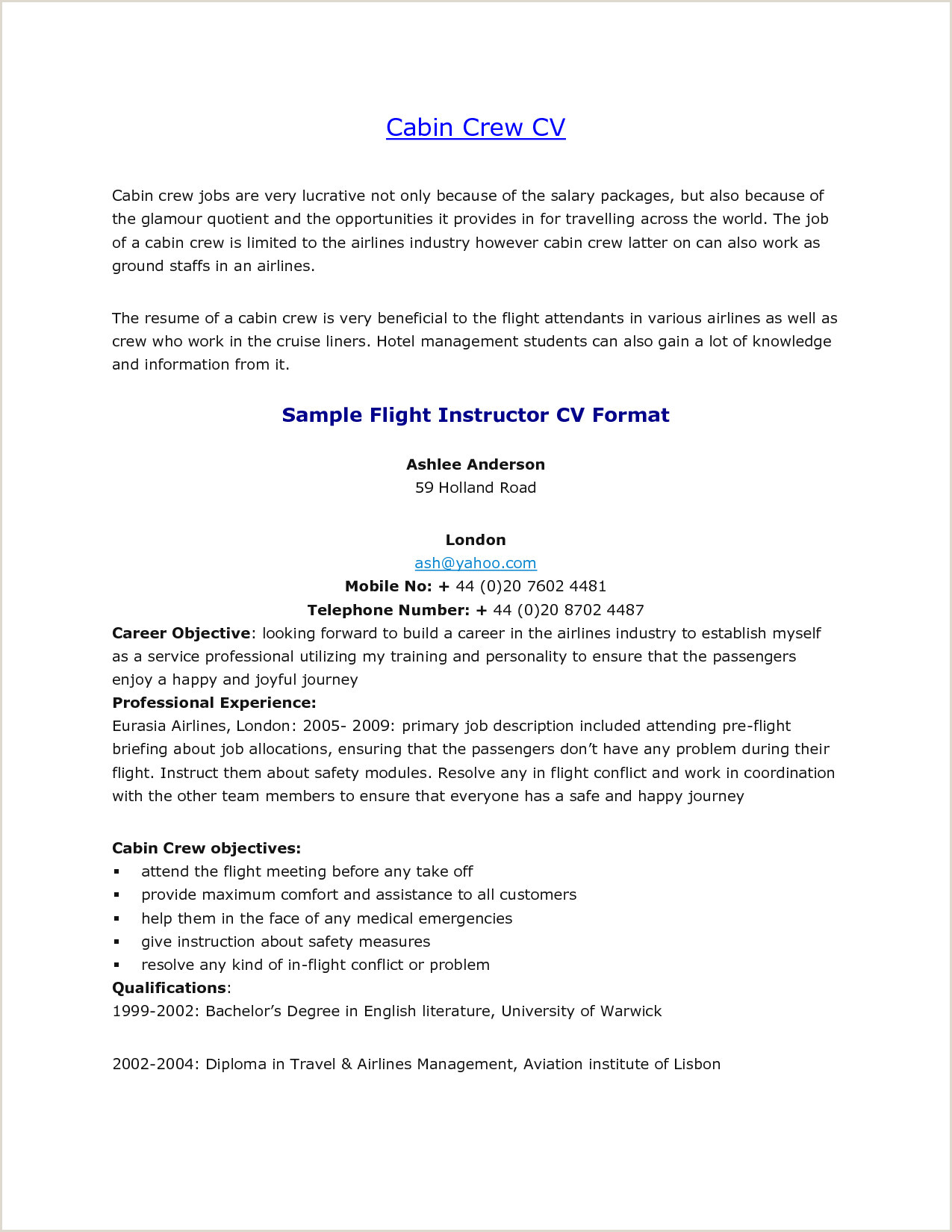 Fresher Resume format for Cabin Crew 29 Resume format for Airlines Ground Staff