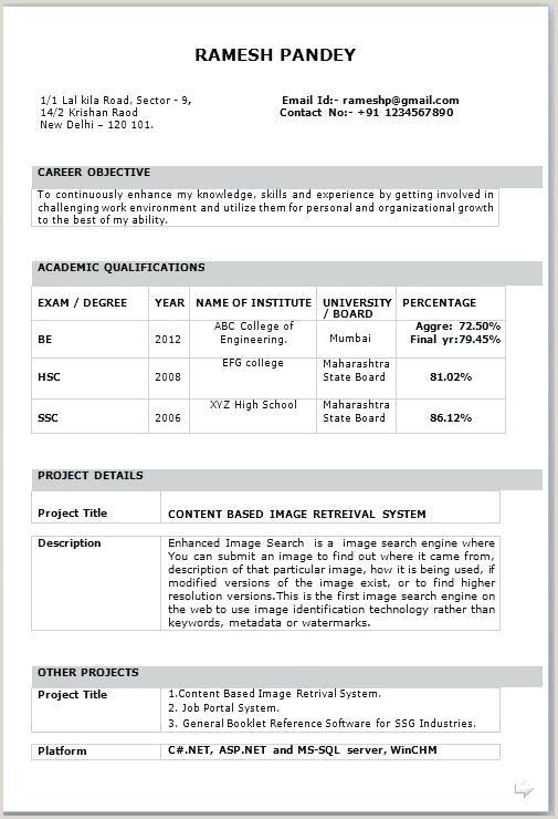 Fresher Resume Format For Call Center Job It Resume Template Download It Resume Format For Freshers