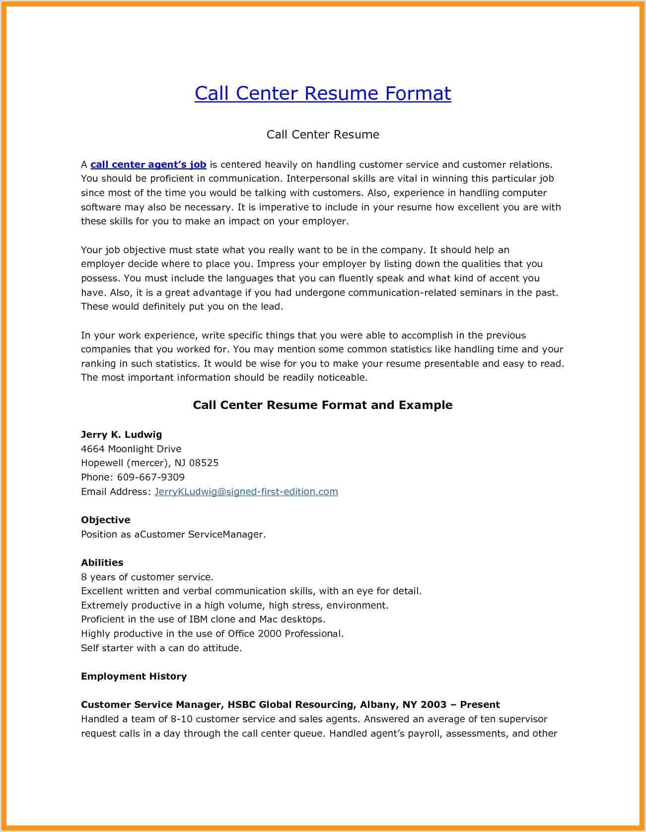 Fresher Resume Format For Call Center Job Sample Resume Format Bpo Jobs New Bpo Resume Best Resume
