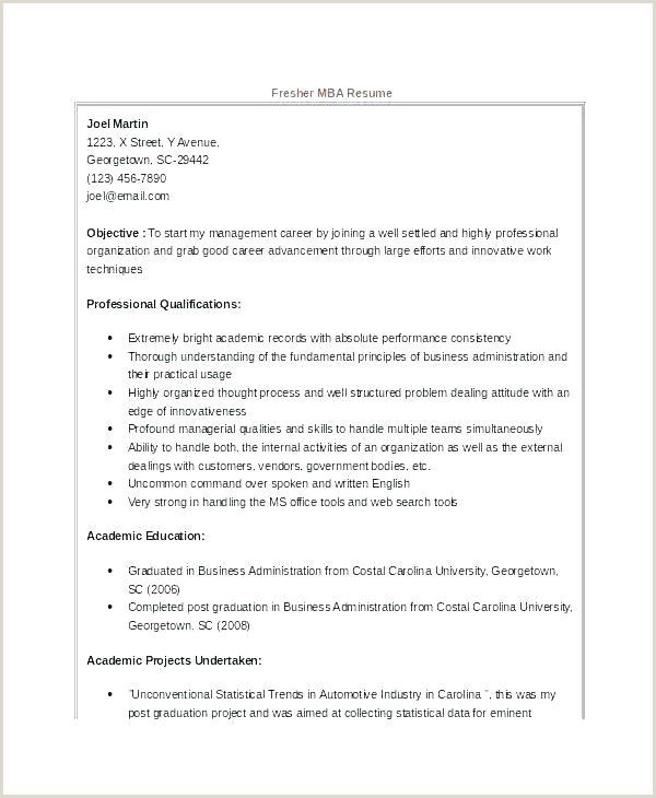 Fresher Resume Format For Commerce Graduate Professional Fresher Resume