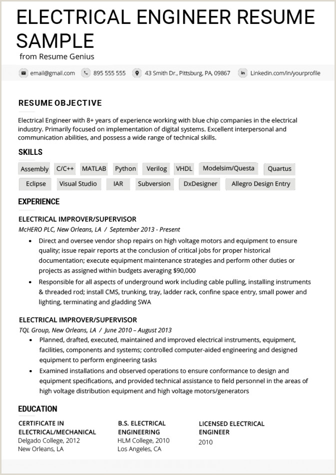 Fresher Resume format for Computer Engineers Download Electrical Engineer Resume Example Writing Tips Genius