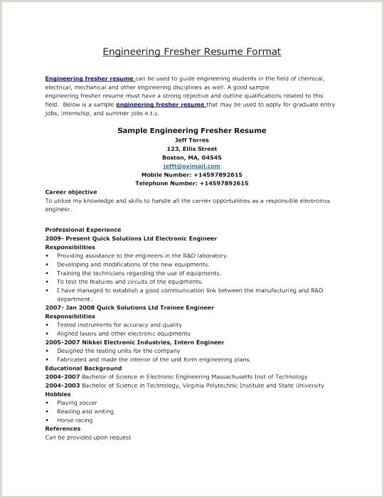 Fresher Resume format for Computer Engineers Download Good Resume Templates for Freshers – Hayatussahabah