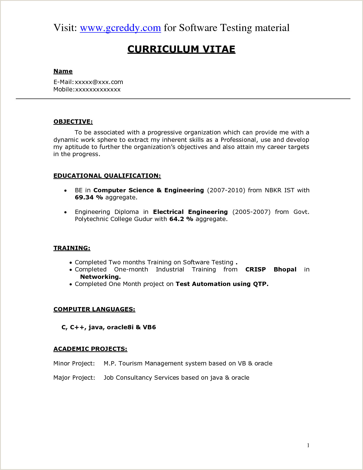 Fresher Resume format for Computer Engineers Download Resume Puter Science Fresher Cover Letter for Sample