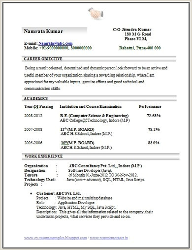 Fresher Resume format for Computer Engineers Fast Custom Essay Writing Service thesis On Guidance