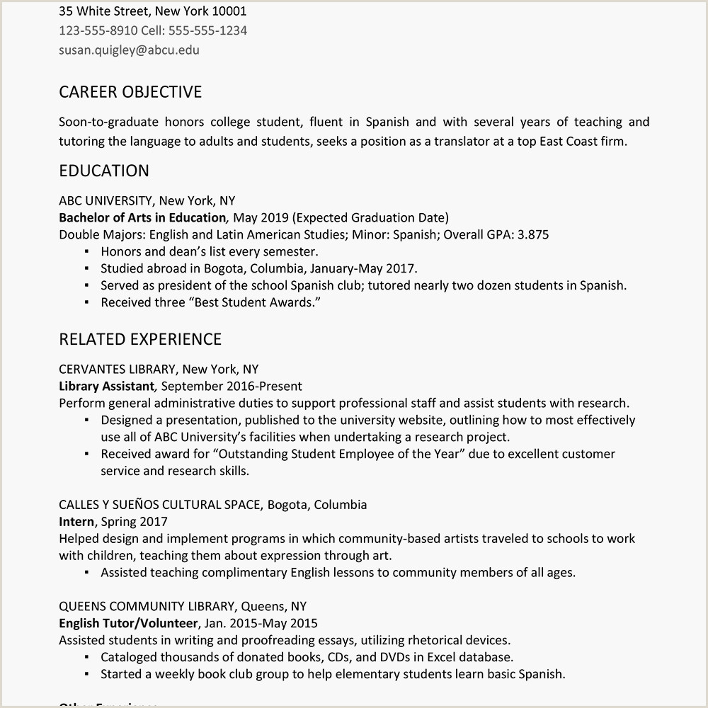 Fresher Resume format for Cse College Graduate Resume Example and Writing Tips