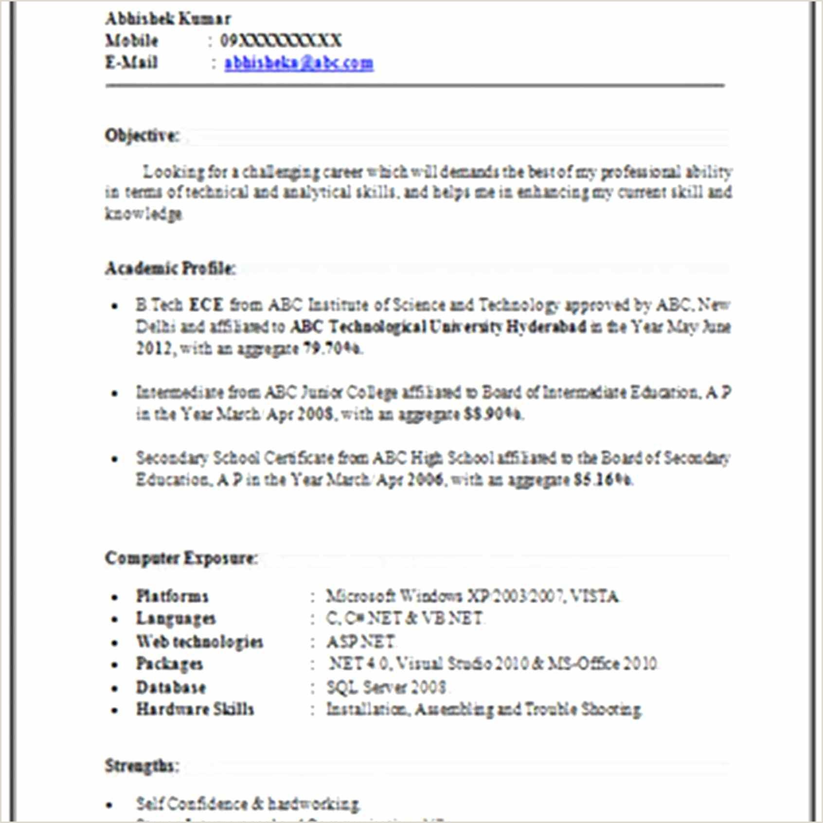 Fresher Resume Format For Ece Elegant Sample Resume For Freshers Mba Finance And Marketing