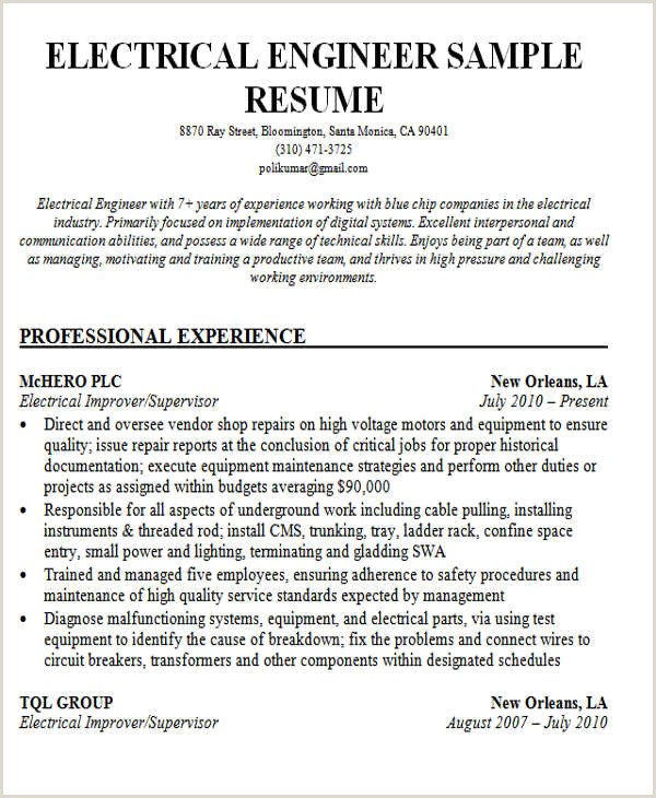 Fresher Resume format for Ece Resume format for Experienced Electrical Engineers Resume