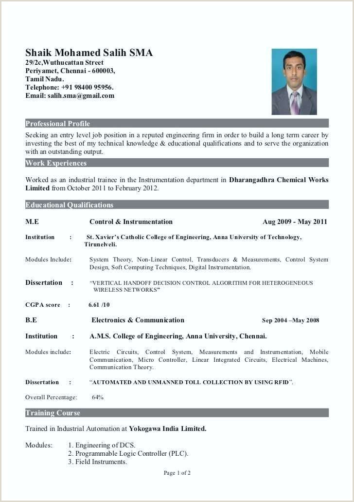 Fresher Resume format for Ece Resume In Pdf format – Paknts