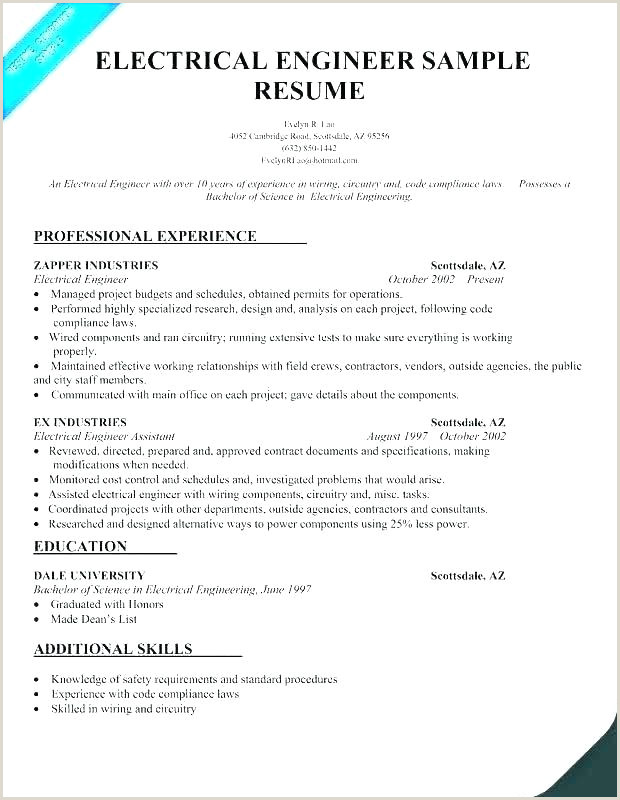 Fresher Resume format for Eee Engineers Best Resume for Electrical Engineer – Emelcotest