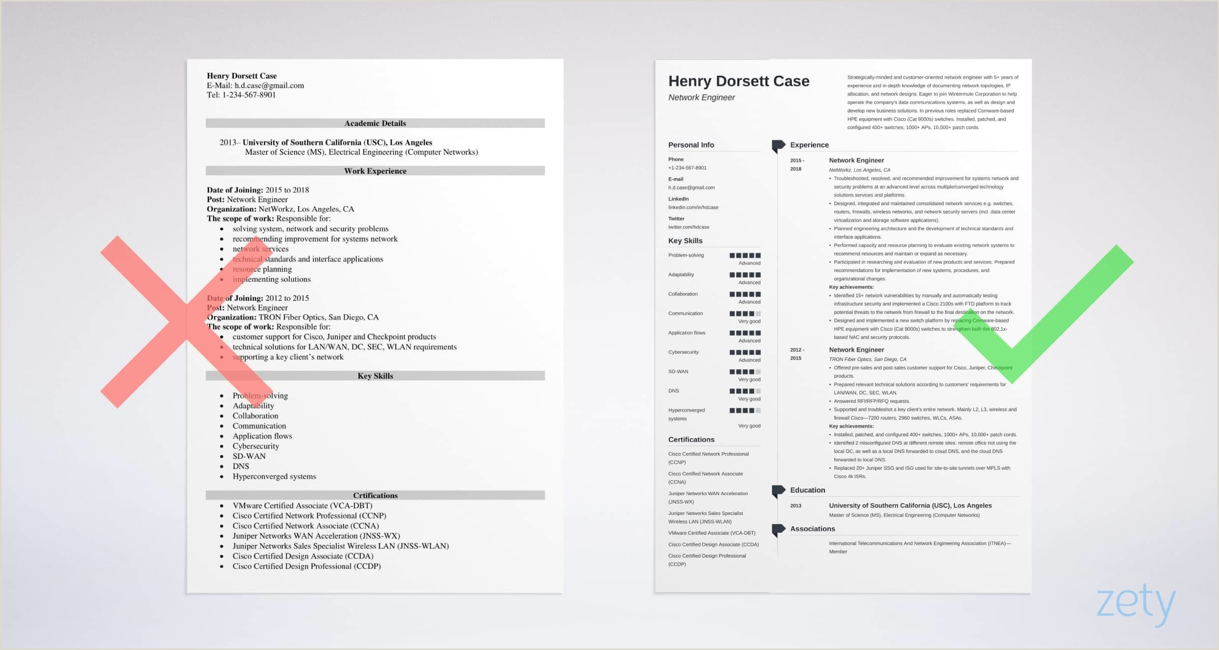 Fresher Resume Format For Eee Engineers Network Engineer Resume Sample And Writing Guide [20 Examples]