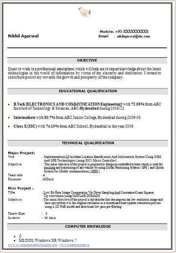 Fresher Resume format for Engineers Best Resume format for B Freshers Sample Resume for