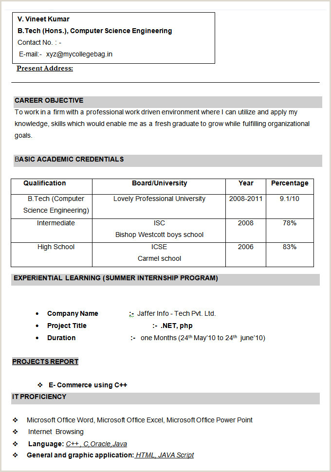 Fresher Resume format for Engineers Cse 68 Cv Templates Pdf Doc Psd Ai