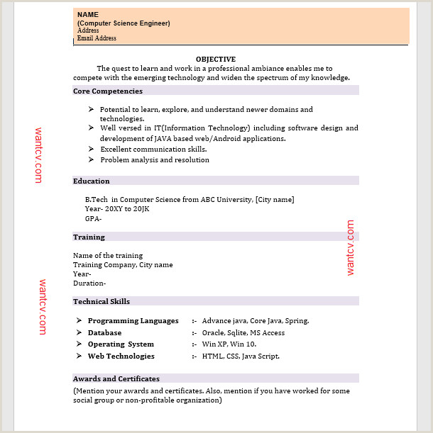 Fresher Resume format for Engineers Cse Awards and Achievements In Resume for Freshers