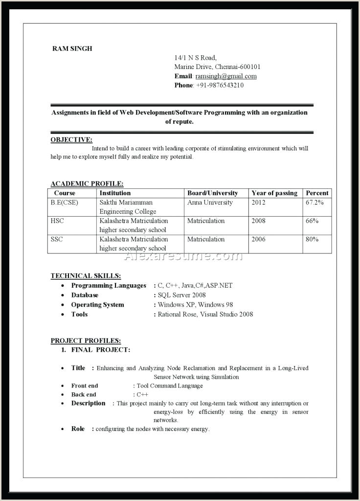 Fresher Resume format for Engineers Cse Resume format Ms Word – Dstic