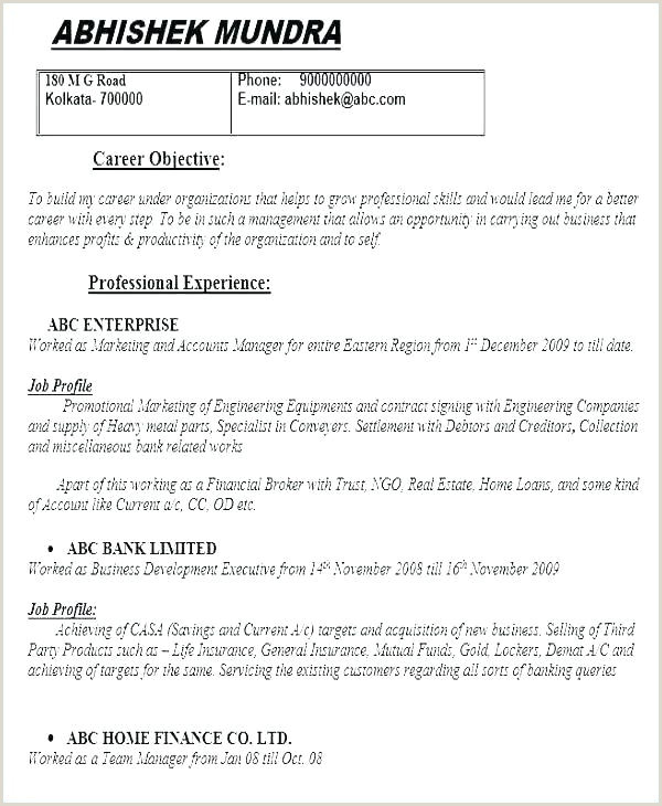 Fresher Resume format for Engineers Simple Resume format for Freshers Best Word Simple