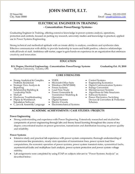 Fresher Resume format for Engineers Unique Fresher Electrical Engineer Resume Sample