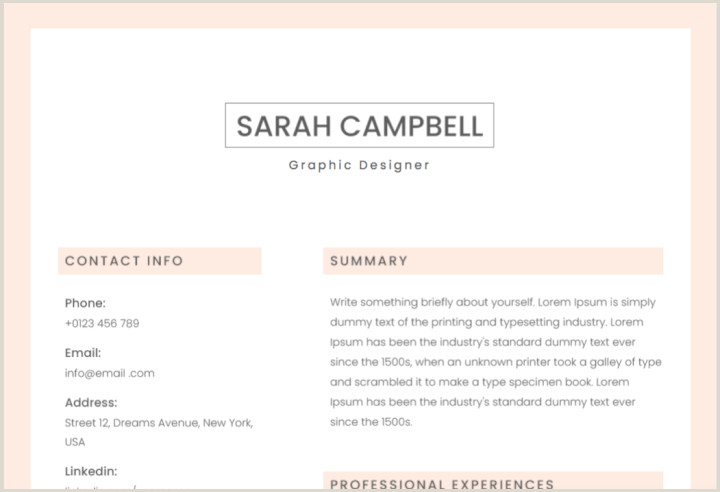 Fresher Resume format for Graphic Designer 50 Free Microsoft Word Resume Templates Updated August 2019