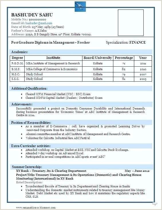 Fresher Resume format for Hotel Management Sample Resume format for Mba Finance Freshers