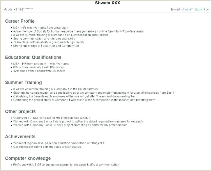 Fresher Resume format for Hr Resume for Freshers Mba – Skinalluremedspa